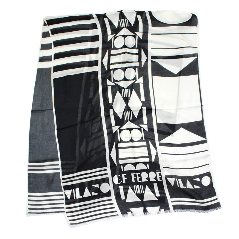 New Gianfranco Ferre Scarf Black White