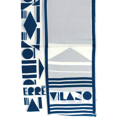 Gianfranco Ferre Scarf White Turquoise Design - Silk Square Scarf SALE
