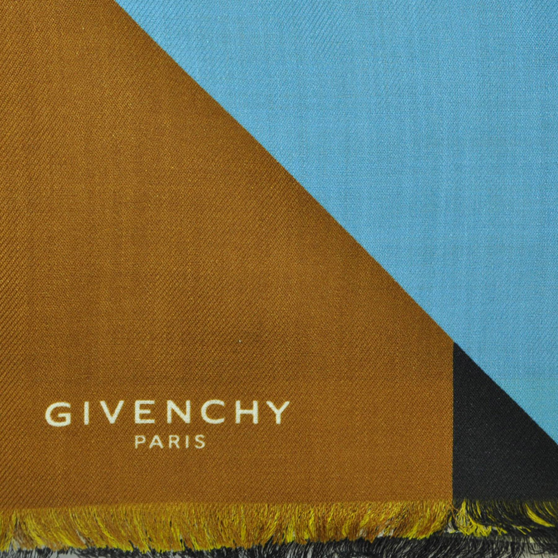 Givenchy Scarf Geometric Flag Design - Extra Large Wool Silk Square Scarf SALE