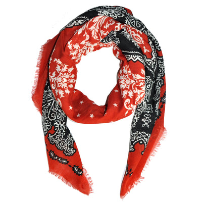 Givenchy Cashmere Scarf Red Star Bandana - Extra Large Square Scarf FINAL SALE