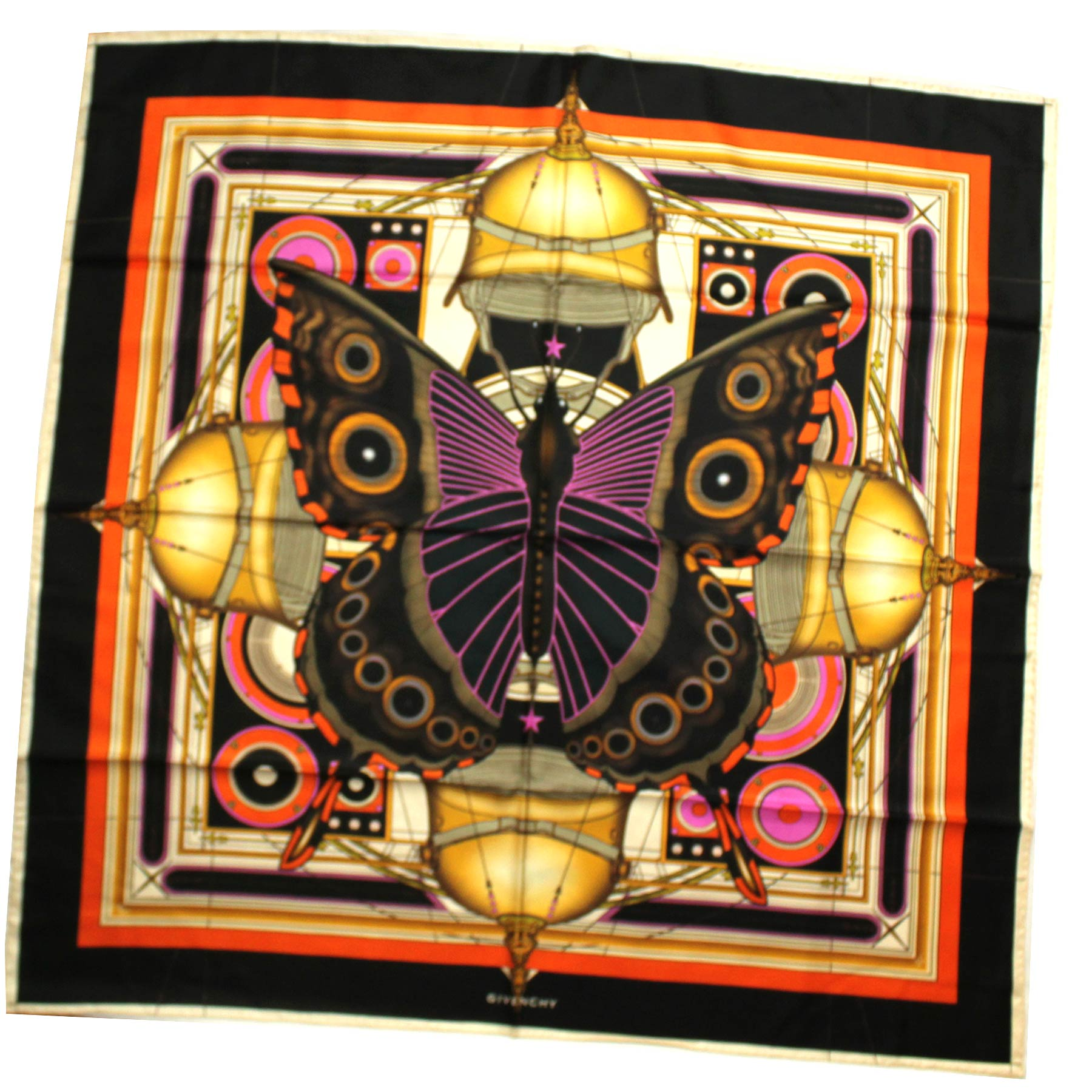 Givenchy Scarf Black Orange Gold Butterfly - Twill Silk Large Square Scarf
