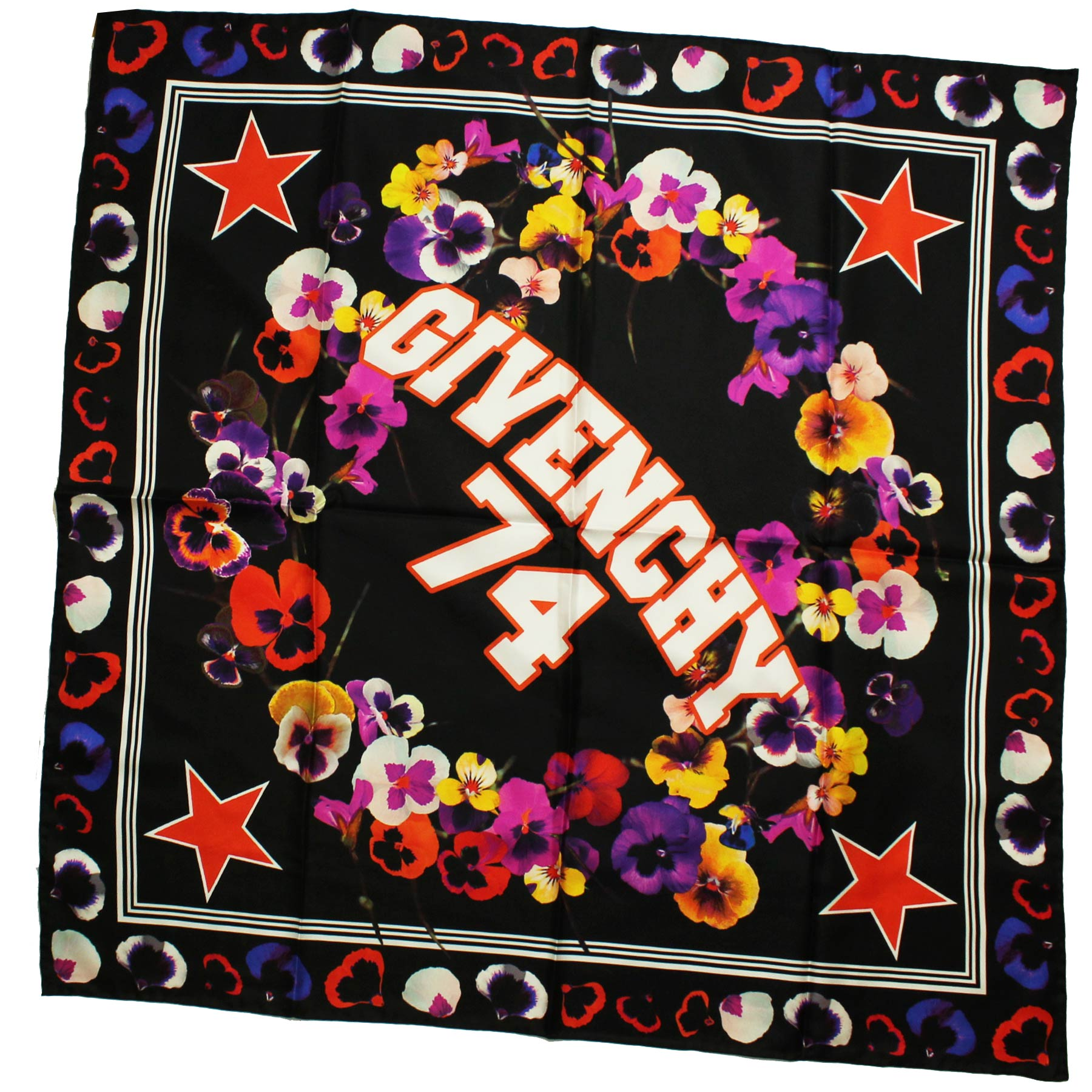 Givenchy Scarf Black Flowers & Givenchy 74 Logo