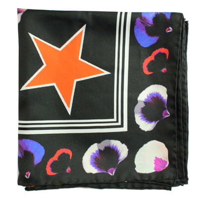 Givenchy Scarf Black Flowers & Givenchy 74 Logo - Twill Silk Large Square Scarf FINAL SALE
