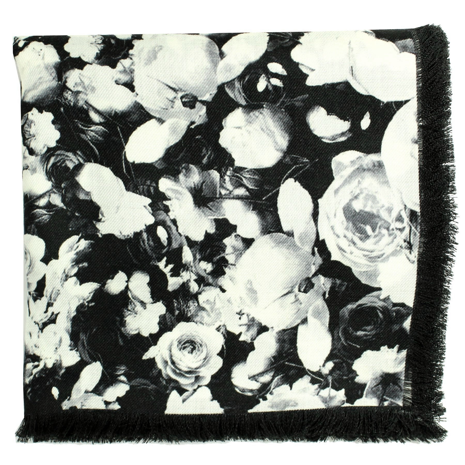 Givenchy Scarf Black White Floral Design