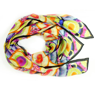 Givenchy Scarf Colorful Design - Extra Large Chiffon Silk Square Wrap FINAL SALE