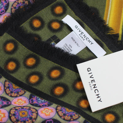 Givenchy Scarf Signature Green Pink Butterfly Design - Cashmere Extra Large Square Scarf SALE