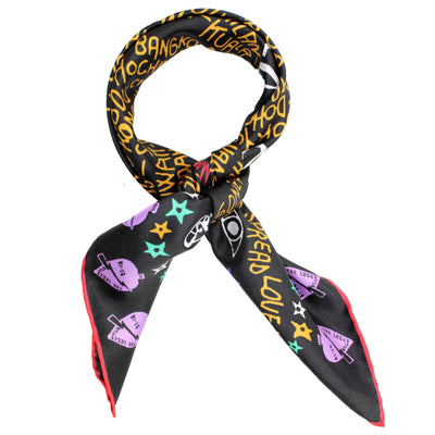Givenchy Scarf Black Tour Date Twill Silk Bandana