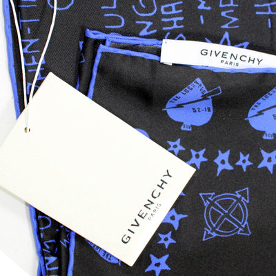 Givenchy Scarf Midnight Blue Black World Tour Twill Silk Bandana