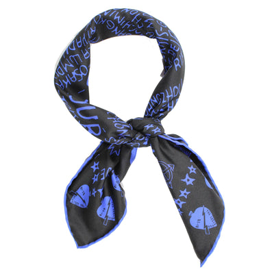 Givenchy Scarf Midnight Blue Black Tour Date Twill Silk Bandana