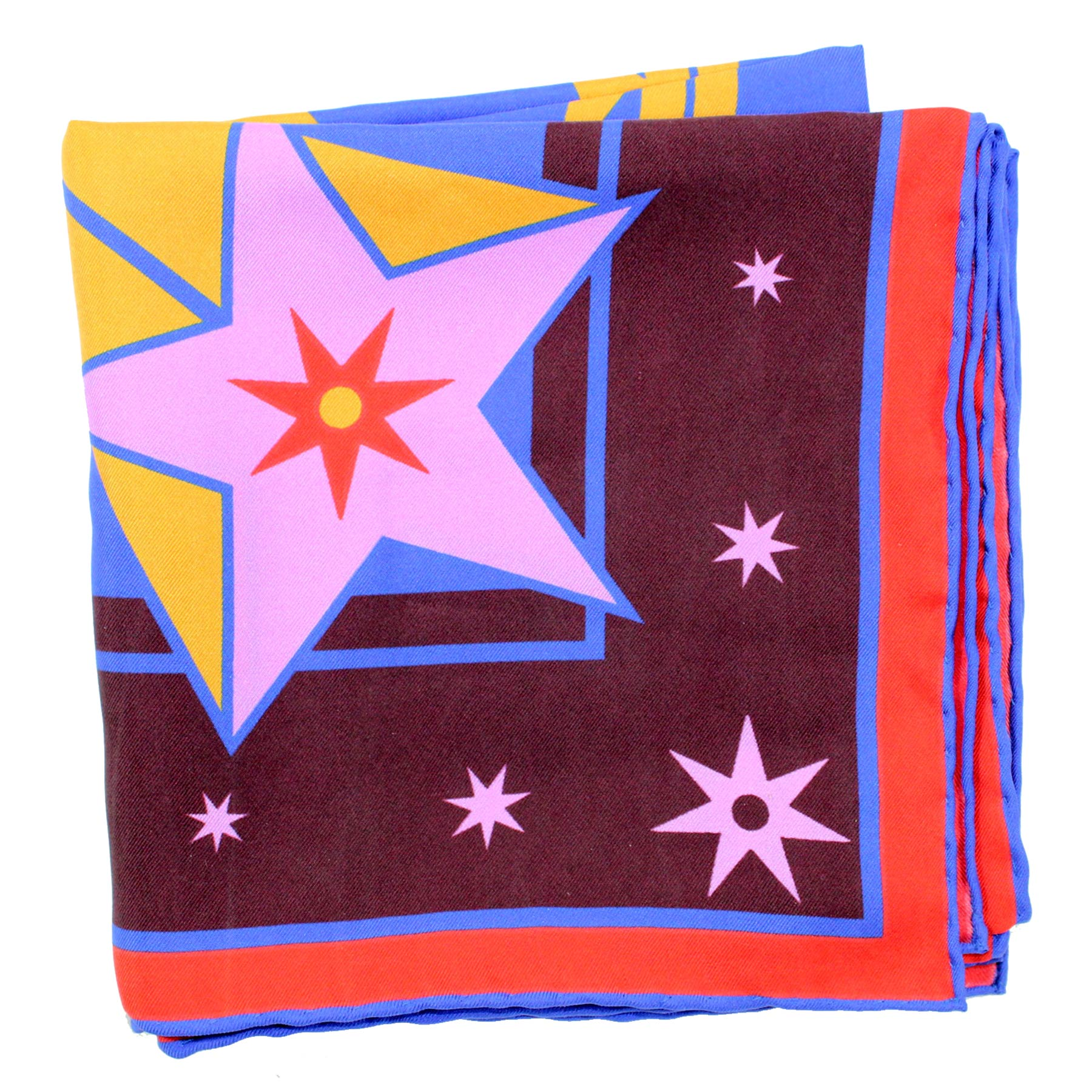 Givenchy Scarf Purple Pink Electrified Stars - Twill Silk Square Scarf