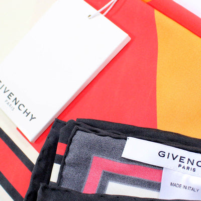 Givenchy Silk Scarf White Red Orange Catwings Design - Large Square Women Scarf