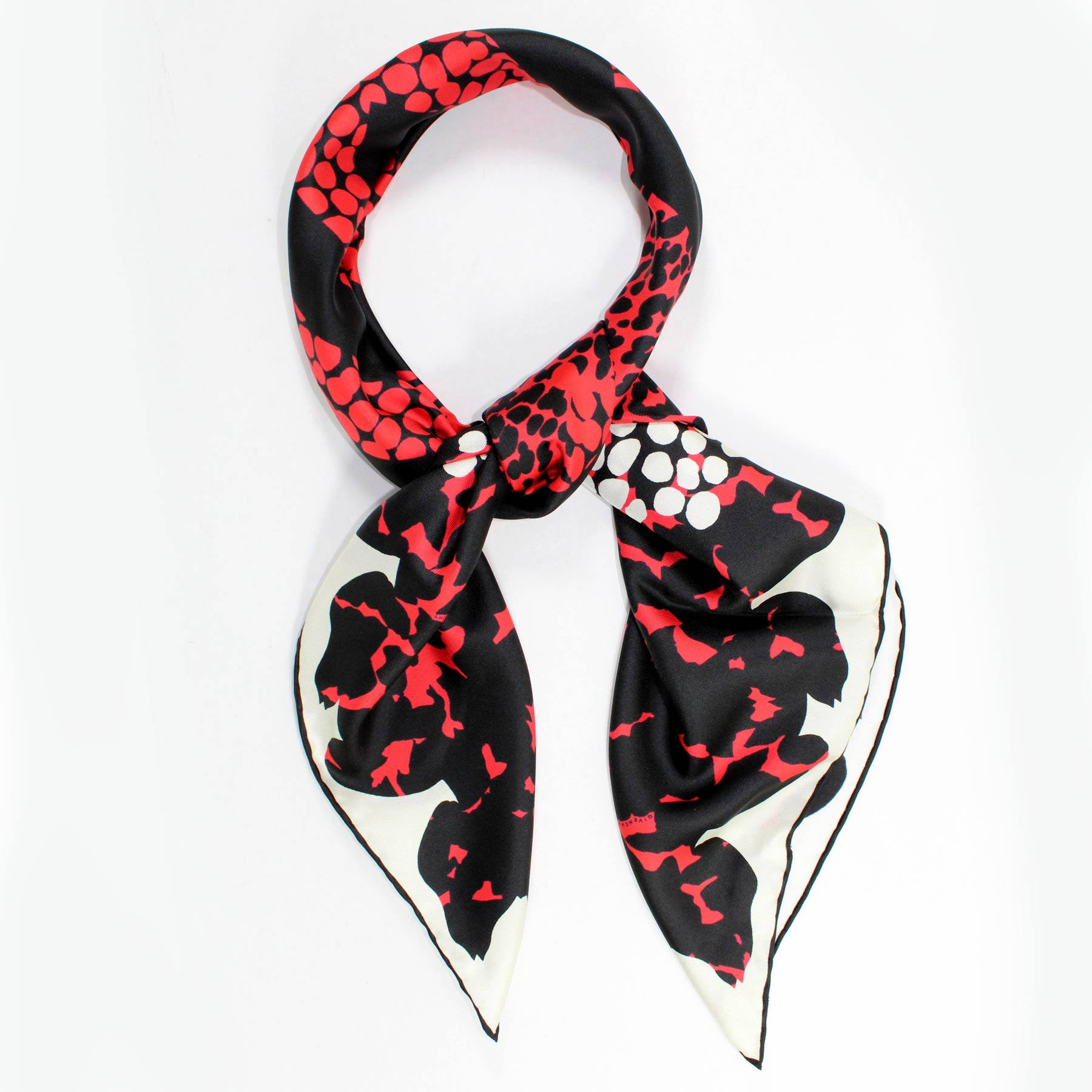 ed84a544903 Givenchy Scarf Red Black Design - Twill Silk Large Square Scarf ...