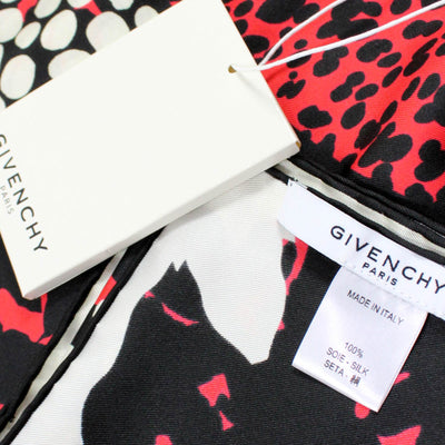 Givenchy Scarf Red Black Design - Twill Silk Large Square Scarf