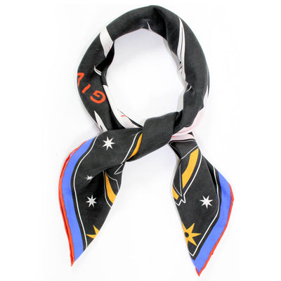 Givenchy Scarf Black Stars Design - Twill Silk Square Scarf