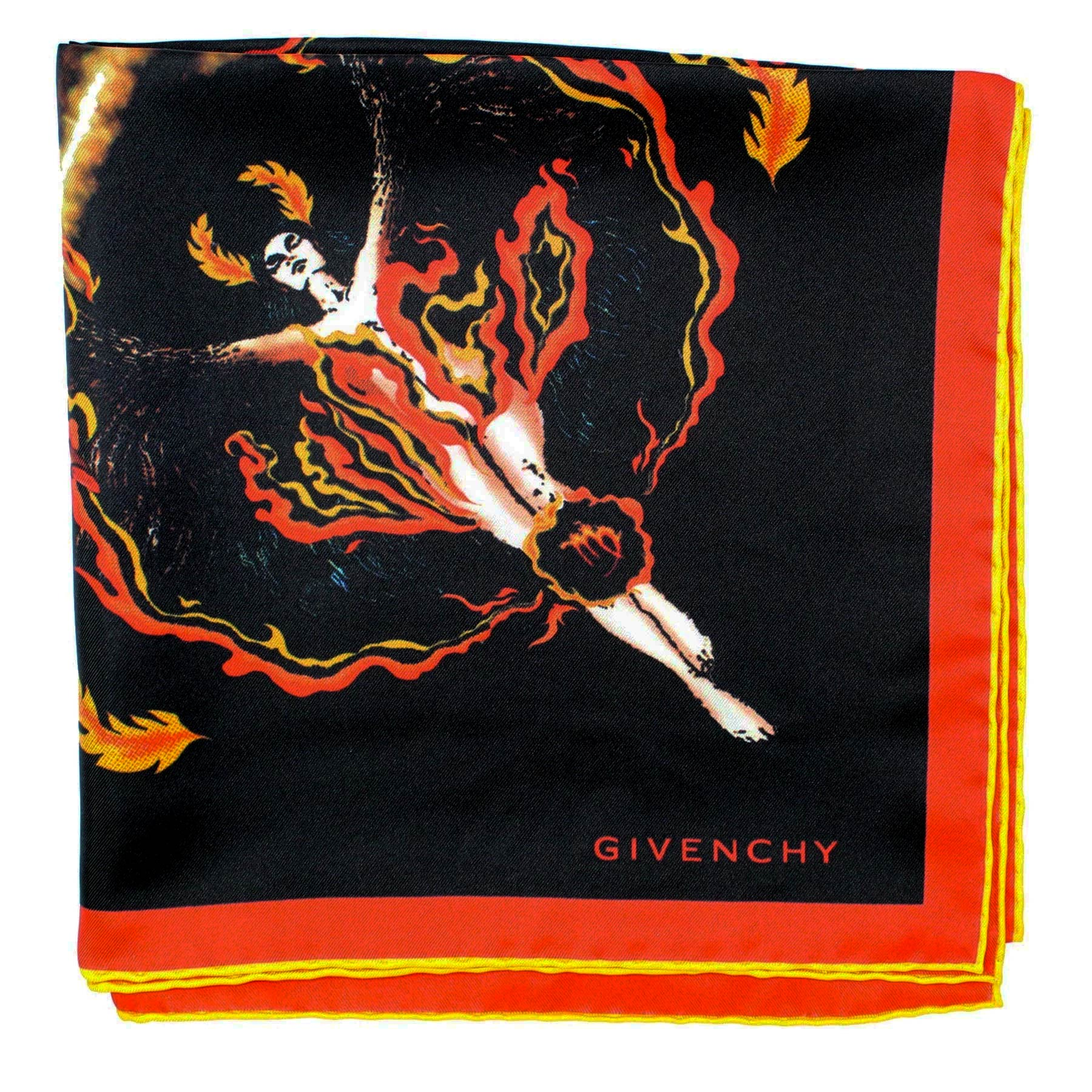 Givenchy Scarf Black Red Yellow Fire