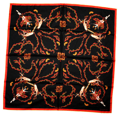 Givenchy Scarf Black Red Yellow Fire Design - Twill Silk Large Square Scarf