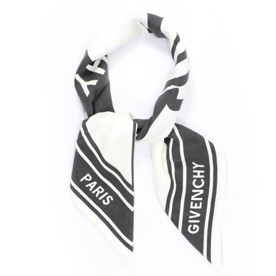 Givenchy Silk Scarf Black White Catwings Design - Large Square Women Scarf SALE