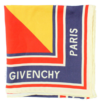 Givenchy Scarf Dark Blue Iconic Flash Design - Large Square Silk Scarf
