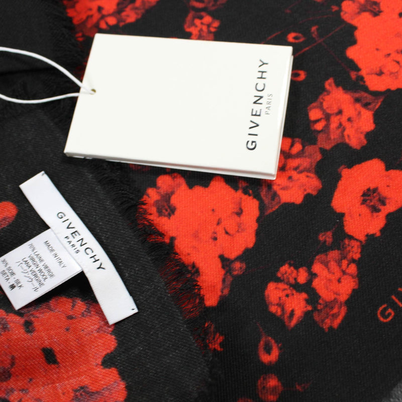 Givenchy Scarf Black Red Wool Silk Shawl