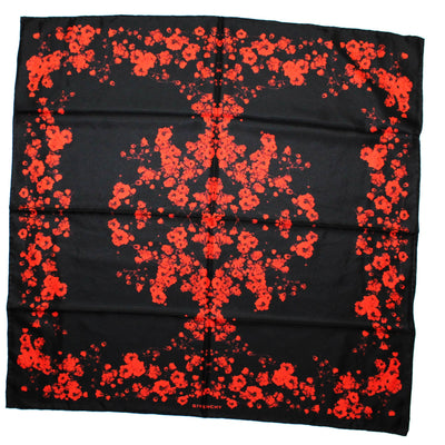 Givenchy Scarf Black Red Floral - Large Square Twill Silk Women Scarf