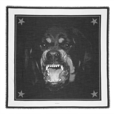 Givenchy Scarf Cashmere Silk Rottweiler Design - Extra Large Square Scarf SALE