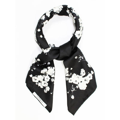 Givenchy Scarf Black White Floral Design - Twill Silk Large Square Scarf SALE