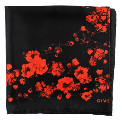 Givenchy Scarf Black Red Floral Women Scarf