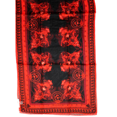 Givenchy Scarf Black Red Signature Design Chiffon Silk Shawl SALE