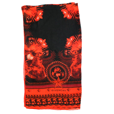 Givenchy Scarf Black Red Panther Design - Chiffon Silk Shawl SALE