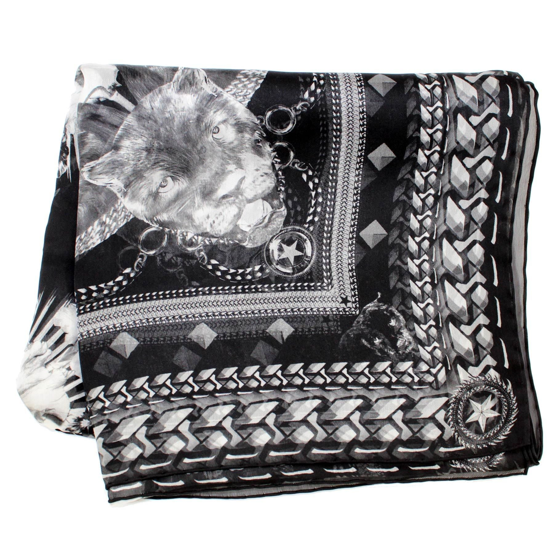 Givenchy Scarf Black Gray Panther