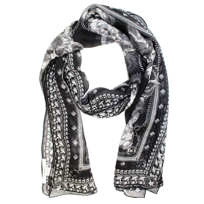 Givenchy Scarf Black Gray Panther Design Chiffon Silk Shawl SALE
