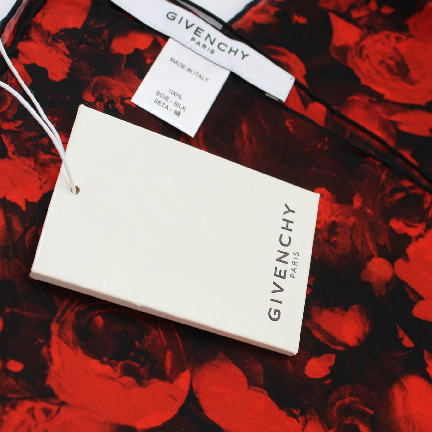 Givenchy Scarf Black Red Roses Large Chiffon Silk Square Wrap