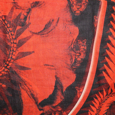 Givenchy Scarf Red Floral & Panther - Extra Large Square Cashmere Silk Scarf SALE