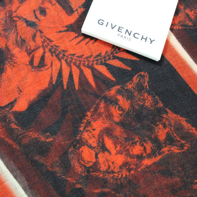 Givenchy Scarf Red Floral & Panther  Silk Scarf