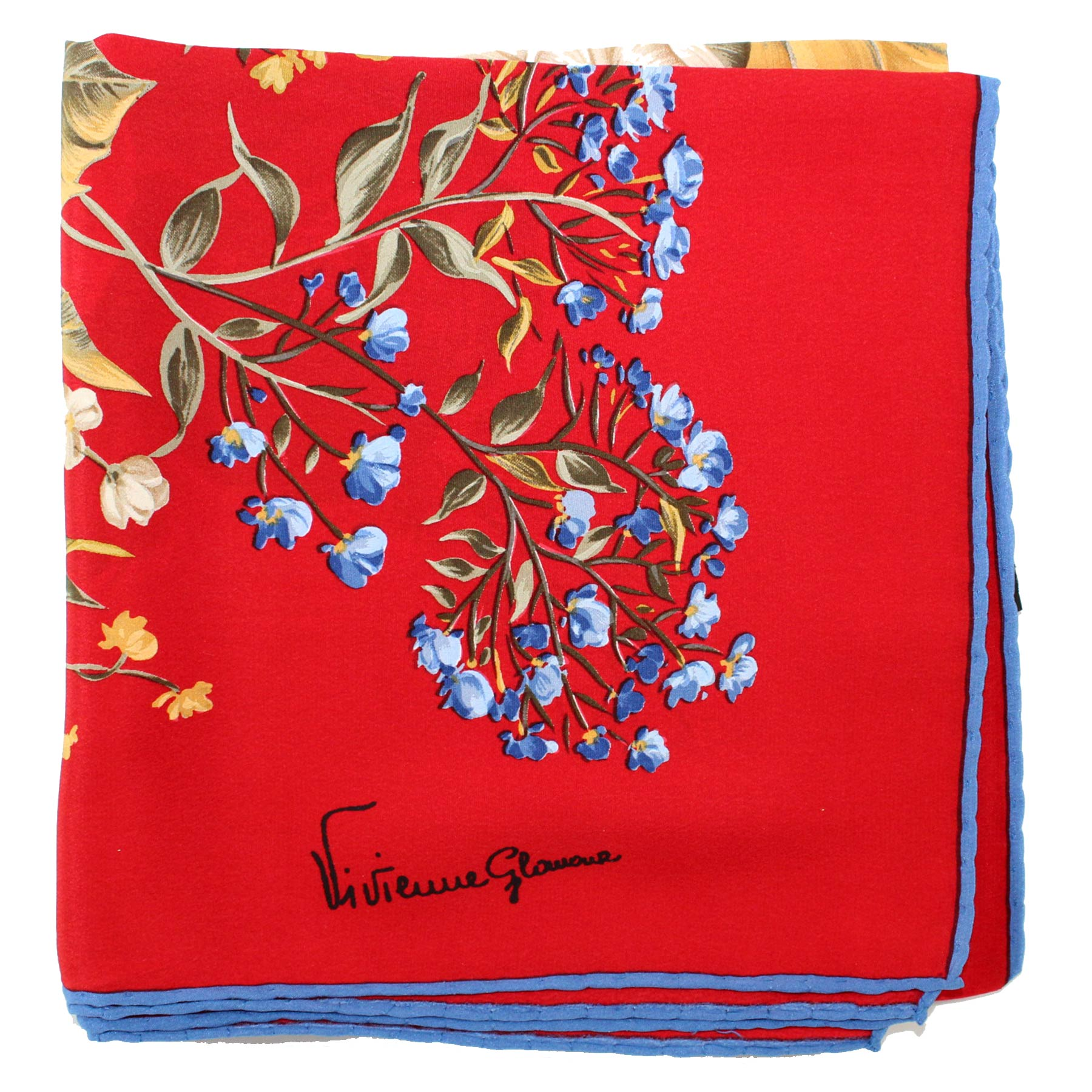 Scarves Red Blue Floral
