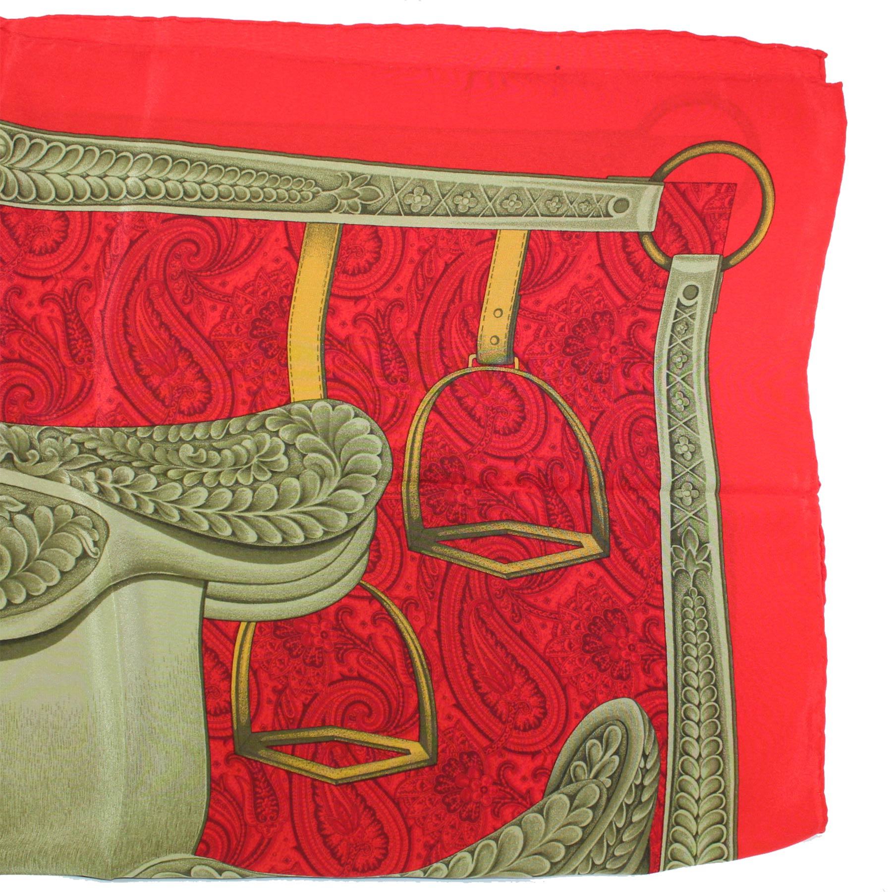 Vivienne Glamour Scarf Red Taupe Equestrian Design - Large Silk Square Scarf Made In Italy SALE