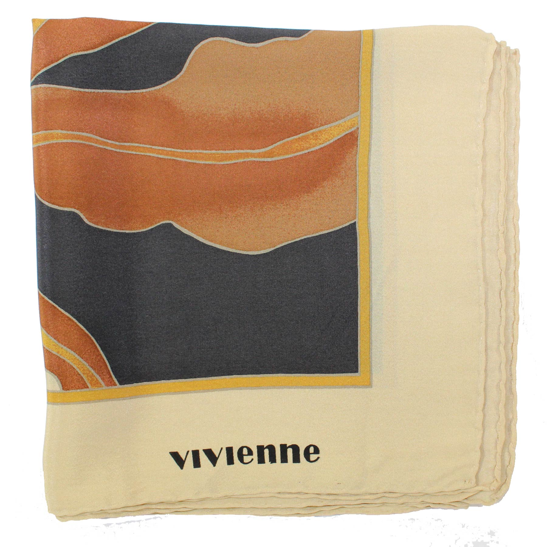 Vivienne Glamour Scarf Brown Design - Large Silk Square Scarf Vintage SALE