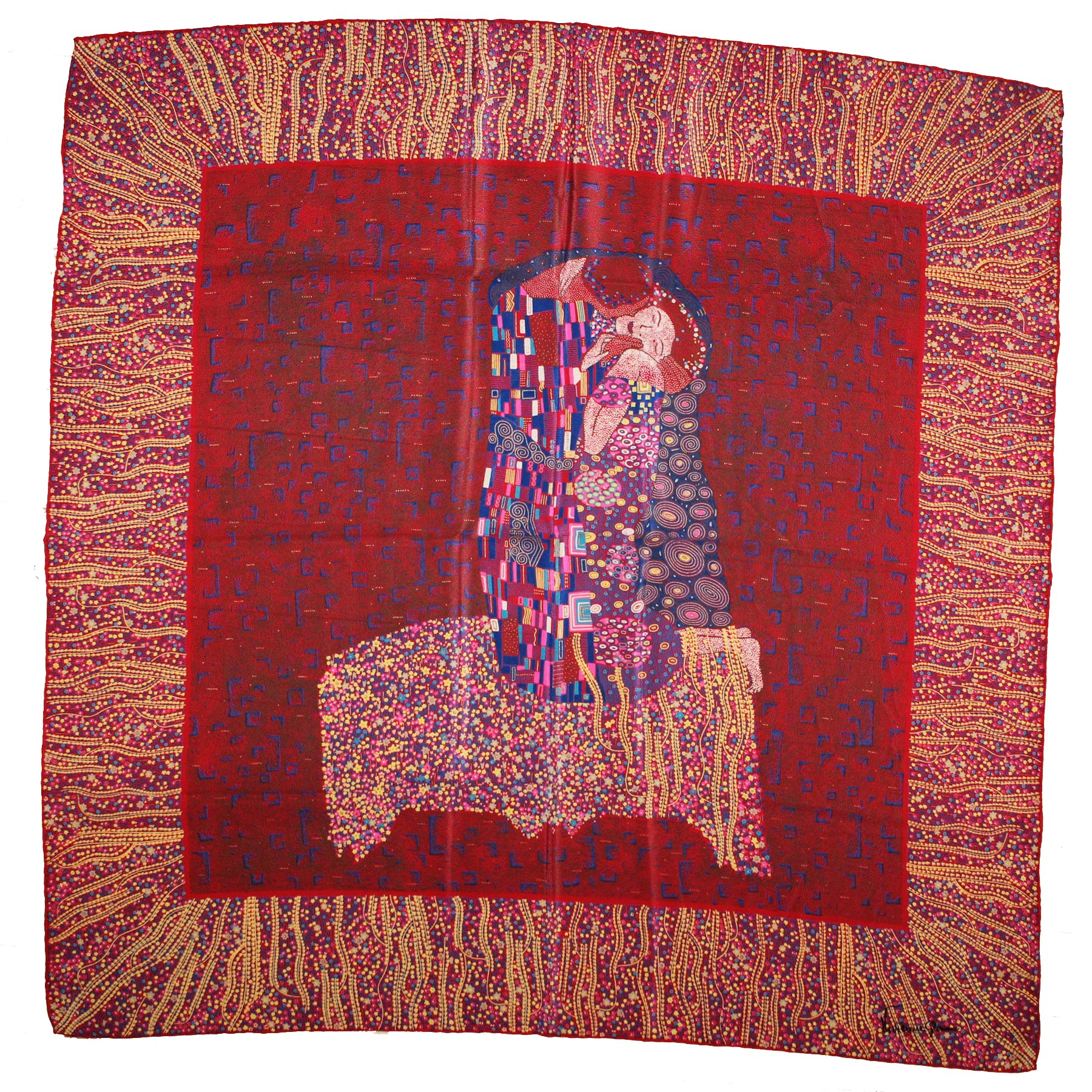 Vivienne Glamour Scarf Red Design - Large Silk Square Scarf