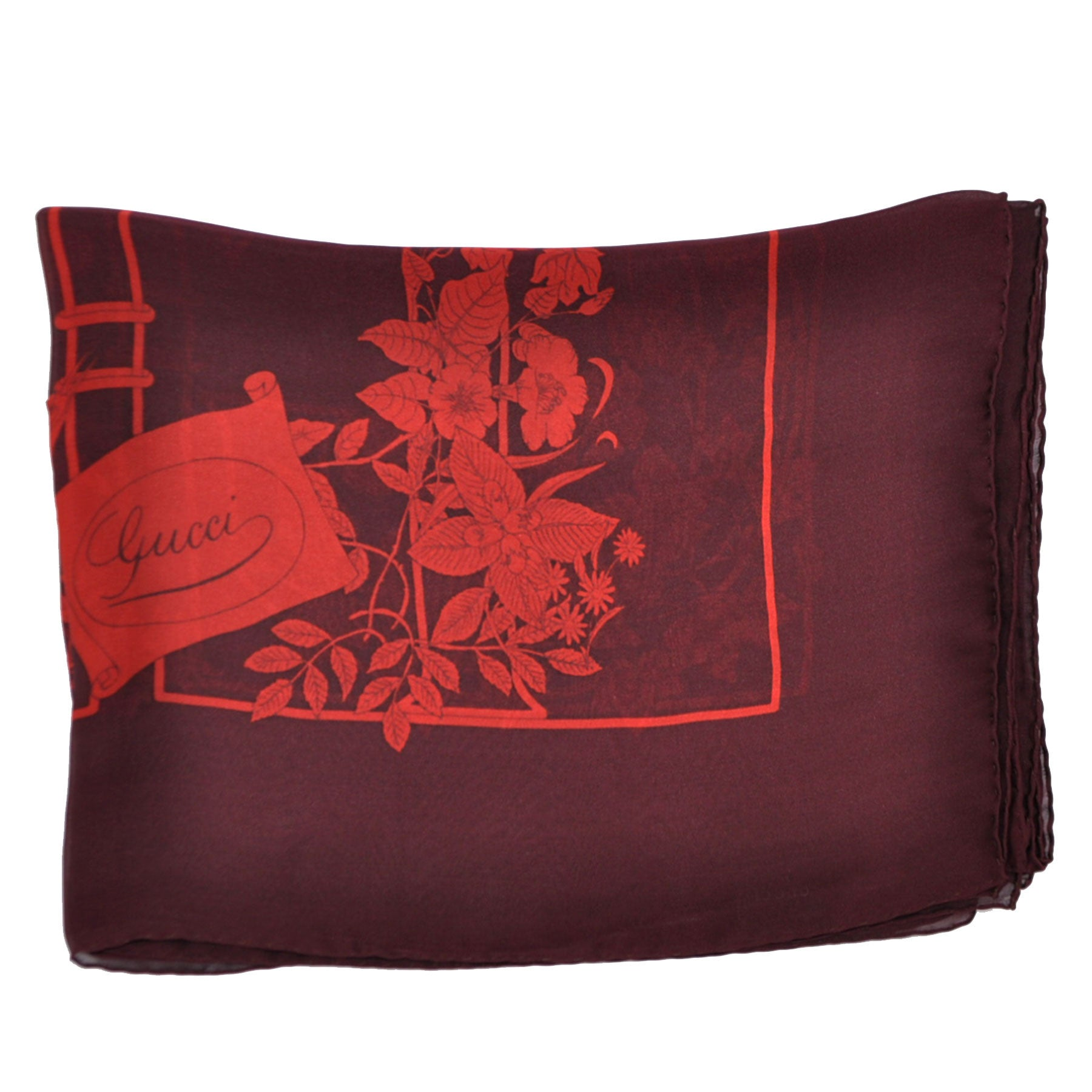 Genuine Gucci Stola Wine Purple Extra Large Square Scarf