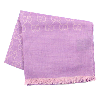 Gucci Scarf Signature Lilac GG Pattern Wool Silk Shawl SALE