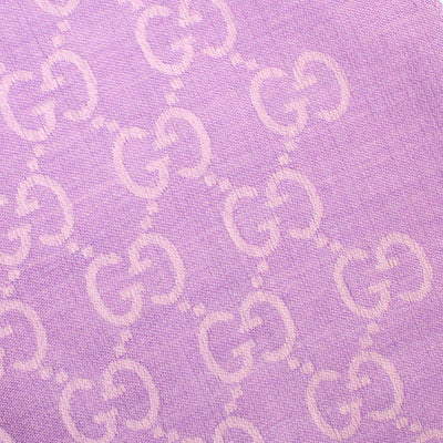 Gucci Scarf Signature Lilac GG Pattern Wool Silk Shawl  FINAL SALE