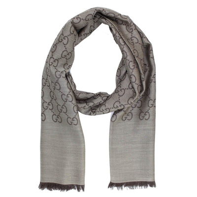 Gucci Scarf Signature Taupe Brown GG Pattern - Wool Silk Shawl SALE