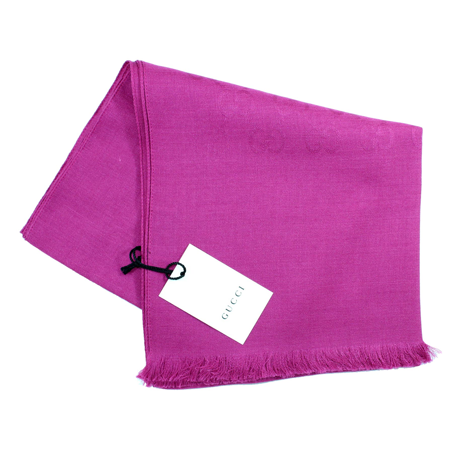 Gucci Scarf Signature Fuchsia GG Pattern Wool Silk Shawl