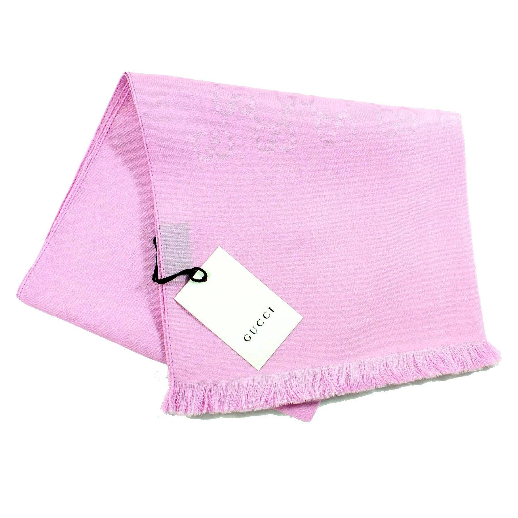 Gucci Scarf Signature Pink GG Pattern Wool Silk Shawl