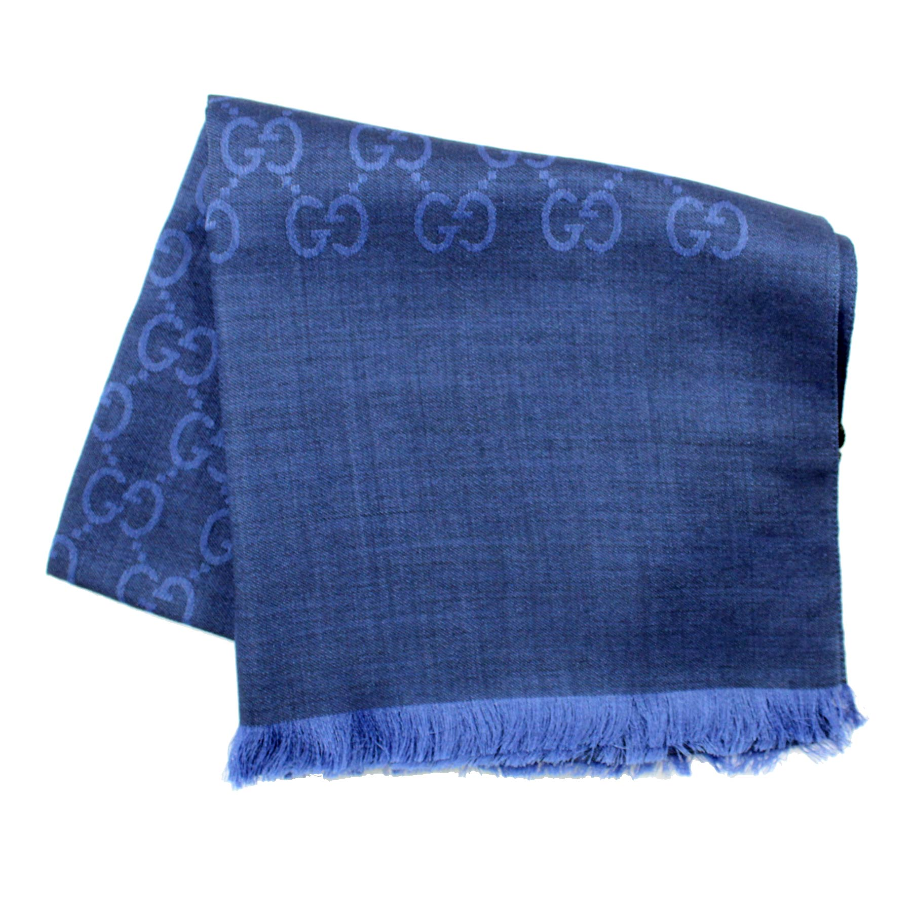 Gucci Scarf Signature Navy Blue GG Pattern Wool Silk Shawl SALE