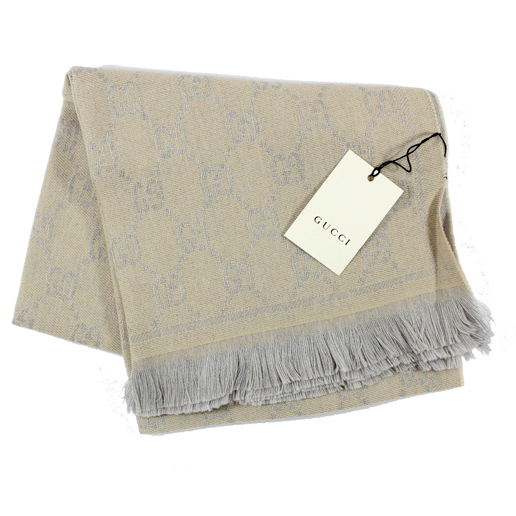 Gucci Wool Scarf Oatmeal Gray GG Design Shawl SALE