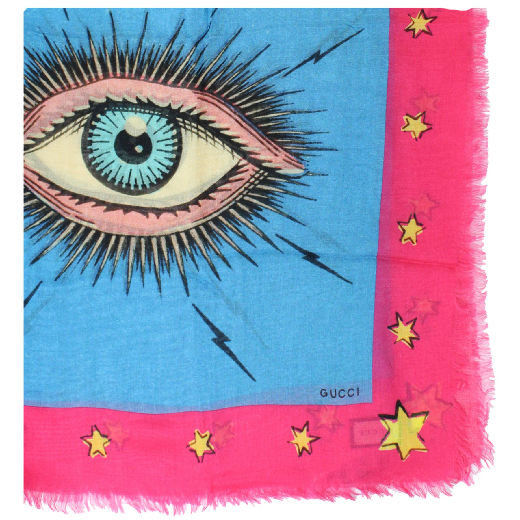Gucci Scarf Sky Blue Pink Eye Star - Large Modal Silk Wrap