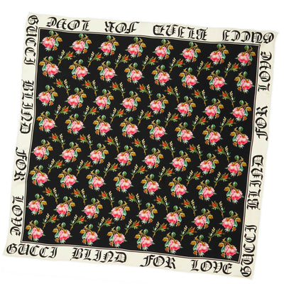 Gucci Scarf 'Gucci Blind For Love' Design - Large Twill Silk Scarf