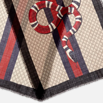 Gucci Scarf GG Pattern Web & Kingsnake - Wool Shawl