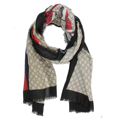 Gucci Scarf GG Pattern Web & Kingsnake Women Collection